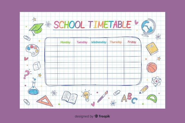 手描き学校の時刻表テンプレート Premiumベクター