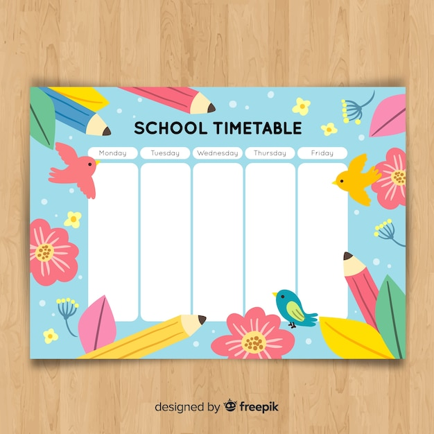 Hand drawn school timetable with animals Free Vector