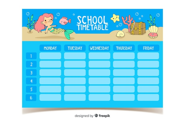 Hand drawn school timetable with cute characters Free Vector