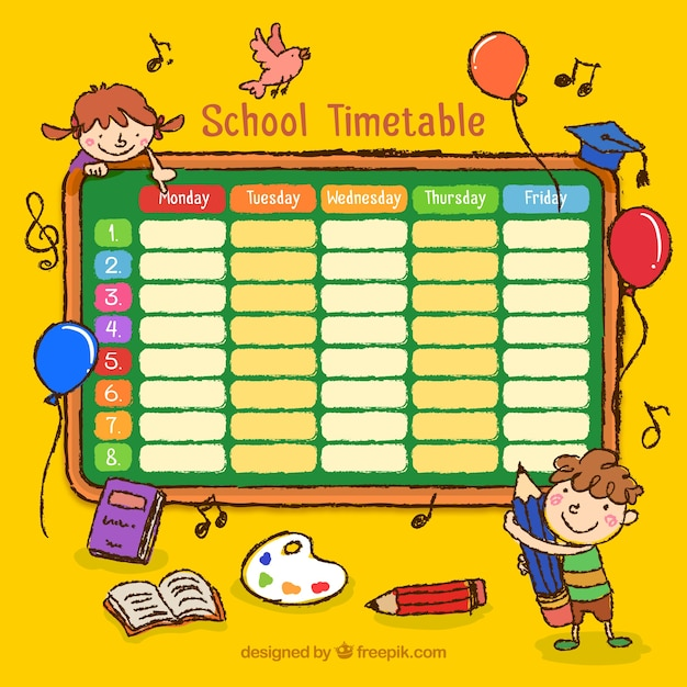 Hand drawn school timetable with drawings Vector – School Time Table Designs