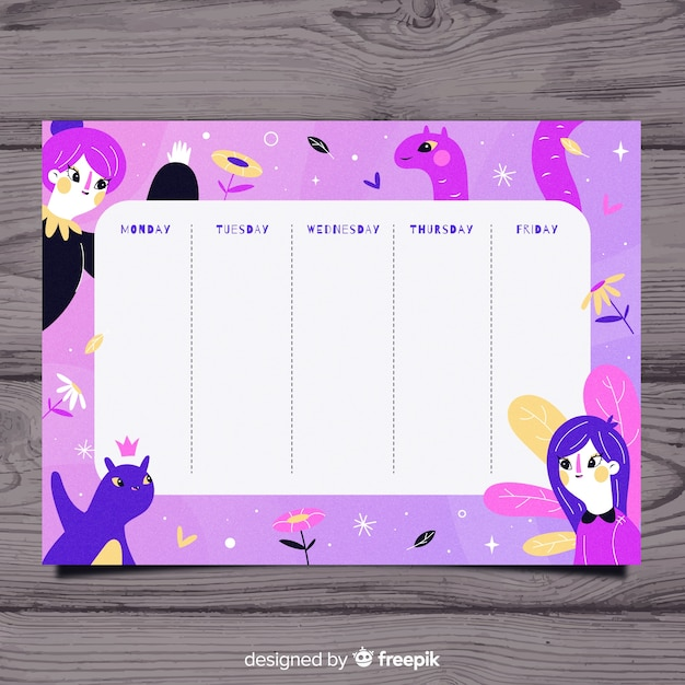 Hand drawn school timetable with illustrations Free Vector
