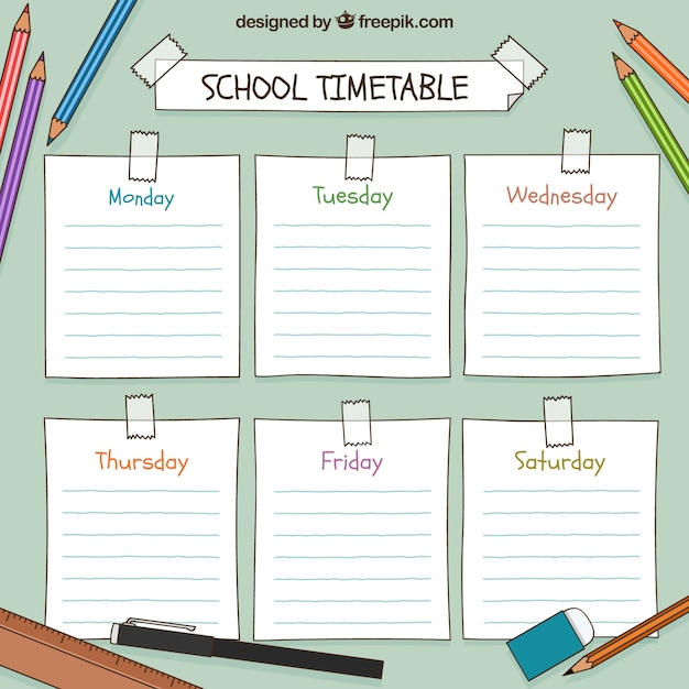 Hand drawn school timetable Free Vector