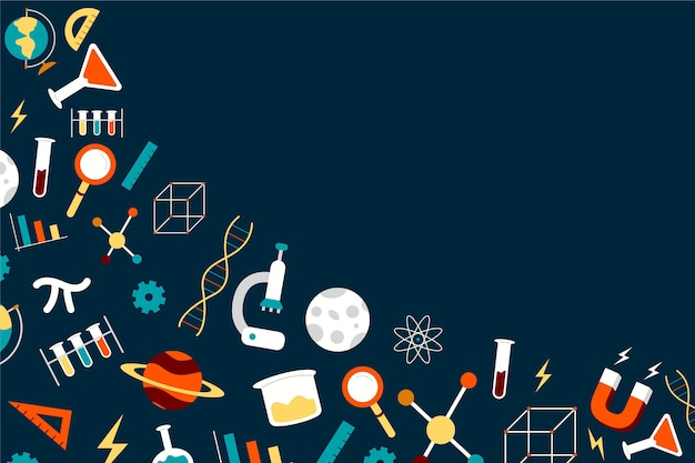 Hand drawn science background with elements collection Free Vector