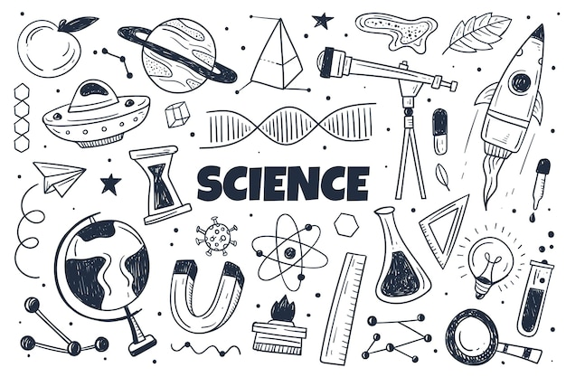 Hand drawn science background with elements set Free Vector