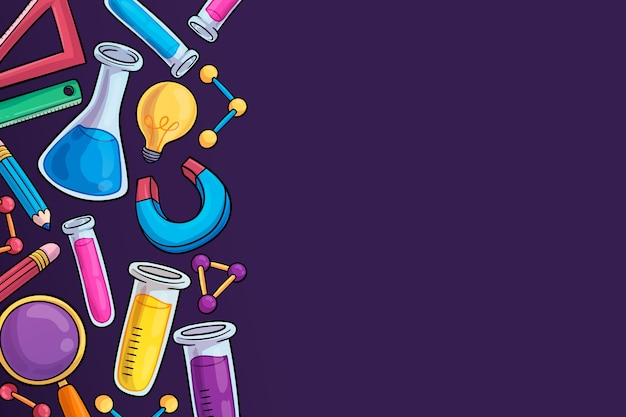 手描きの科学教育の背景デザイン 無料ベクター