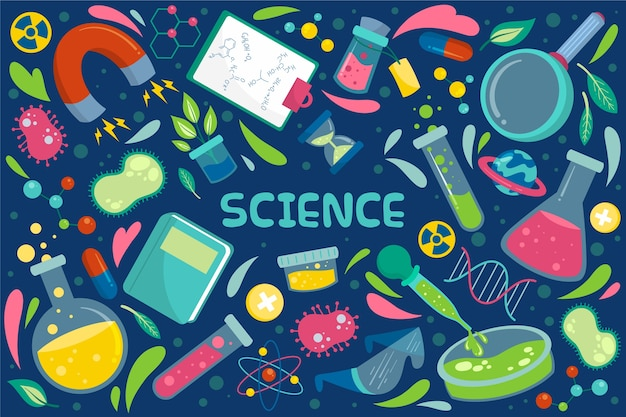 Нарисованный рукой фон образования науки Бесплатные векторы