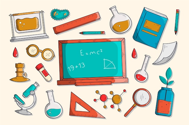 Hand drawn science education background Free Vector
