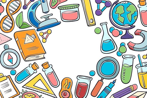 手描きの科学教育の壁紙コンセプト 無料ベクター