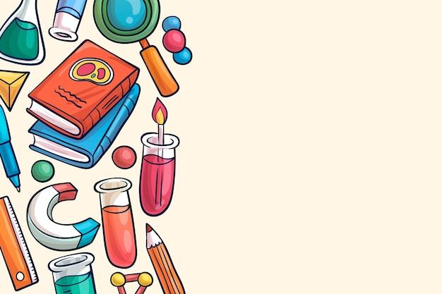 手描きの科学教育の壁紙デザイン 無料ベクター
