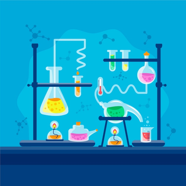 Hand-drawn science lab concept Free Vector