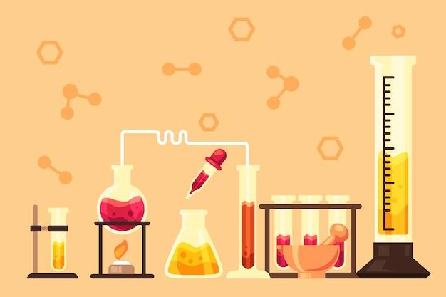 化学アイテムで描かれた科学実験室 無料ベクター