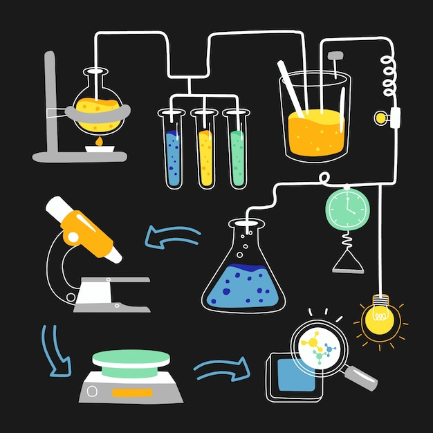 Hand drawn science lab Free Vector