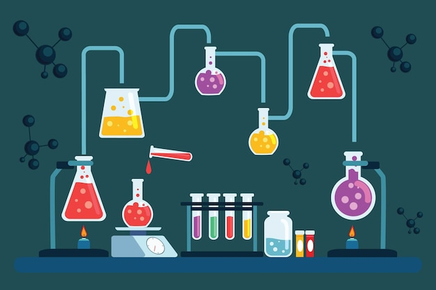 Hand drawn science laboratory objects and atoms Free Vector