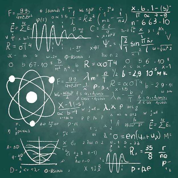 Hand drawn scientific formulas on chalkboard Free Vector