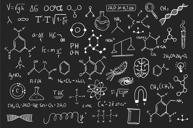 Ручной обращается научные формулы на доске Бесплатные векторы