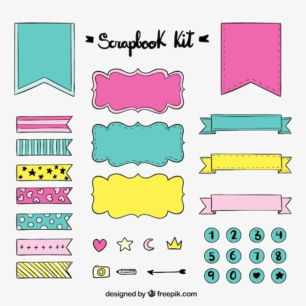 Hand Drawn Scrapbook Kit With Ribbons And Stickers Free Vector