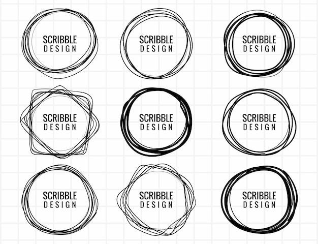 Hand drawn scribble circle set design Free Vector