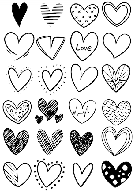 Hand drawn scribble hearts Premium Vector