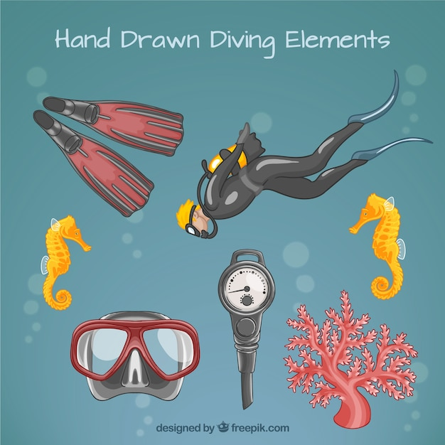 Hand drawn scuba diver and equipment Free Vector