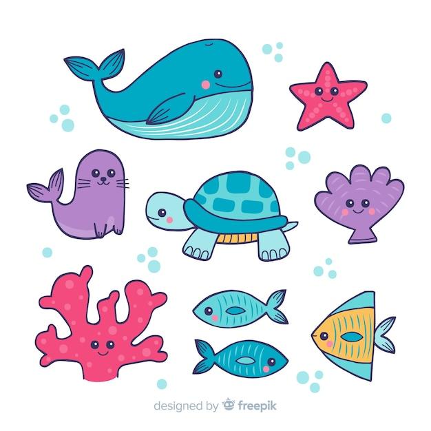 Коллекция рисованной морских животных Premium векторы
