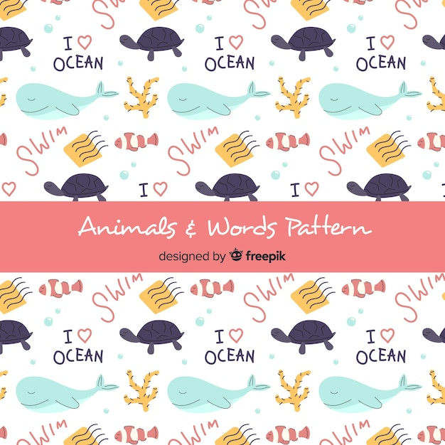 Hand drawn sea animals and words pattern Free Vector