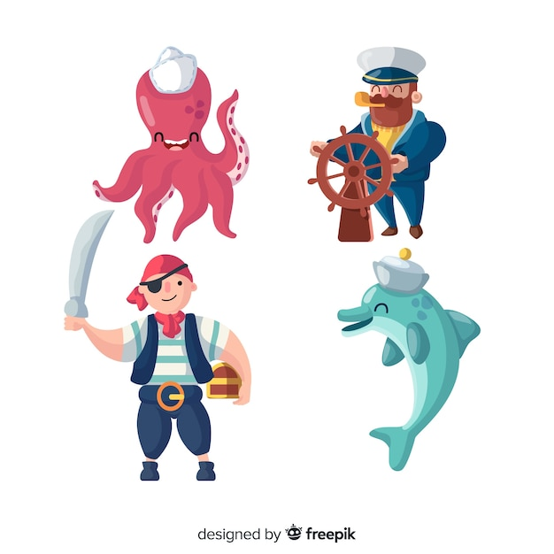 Hand drawn sea characters collection Free Vector