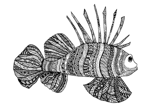 Line Art Of Fish : Hand drawn sea fish background vector premium download