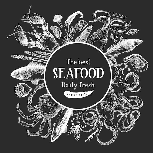 Ручной обращается дизайн морепродуктов Premium векторы