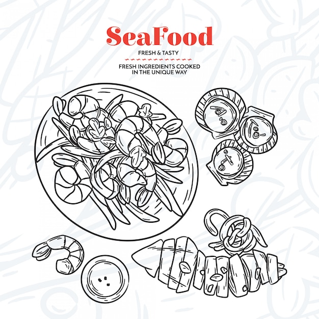 Hand drawn seafood elementes Free Vector