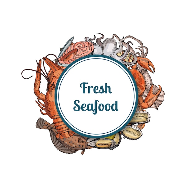 Hand drawn seafood elements under framed circle Premium Vector