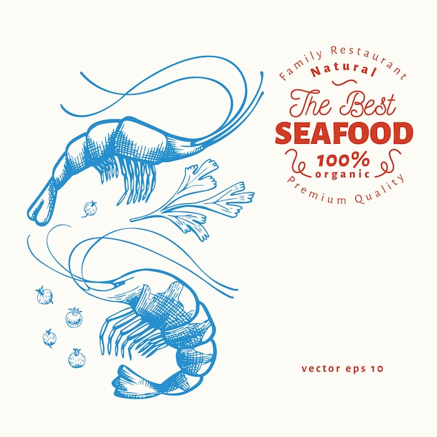 Hand drawn seafood template. Premium Vector
