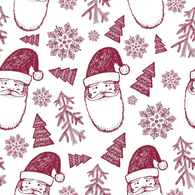 Hand drawn seamless christmas winter pattern, background. snowflakes, santa, christmas trees illustration Premium Vector
