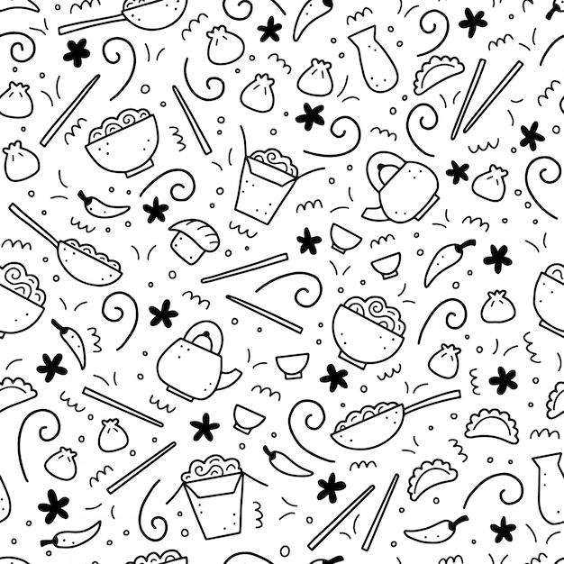 手には、アジア料理の要素のシームレスパターンが描かれました。落書きスタイル。 Premiumベクター