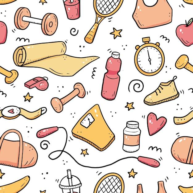 피트 니스, 체육관 장비의 손으로 그려진 된 완벽 한 패턴입니다. 낙서 스케치 스타일. 에스 프리미엄 벡터