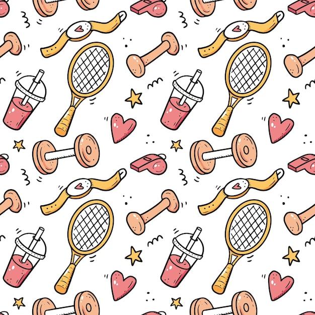 손으로 그린 피트니스 체육관 장비의 완벽 한 패턴 낙서 스케치 스타일 아이콘 프레임 배경에 대 한 디지털 Brushpen 그림으로 그린 스포츠 요소 프리미엄 벡터