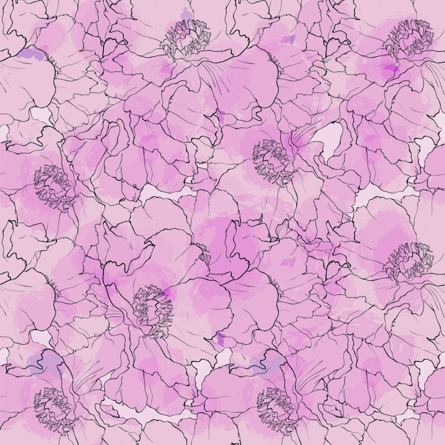 Hand drawn seamless pattern peony flowers Premium Vector