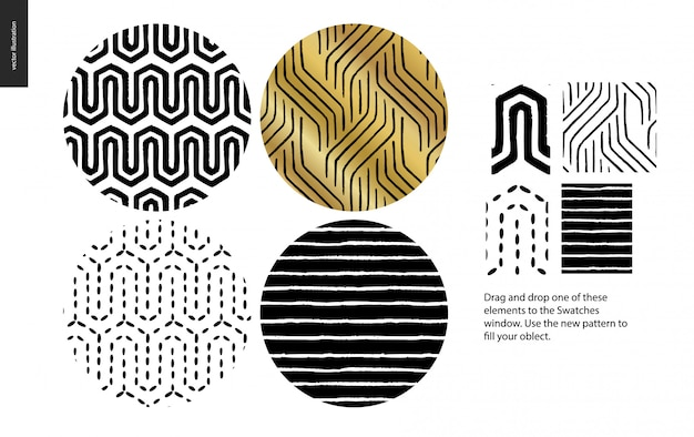 Hand drawn seamless pattern - rounded set Premium Vector