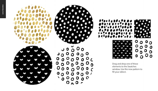 Hand drawn seamless pattern set - rounded Premium Vector