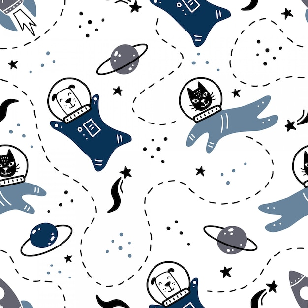 Hand drawn seamless pattern of space with star, comet, planet, cat, dog astronaut element.. Premium Vector