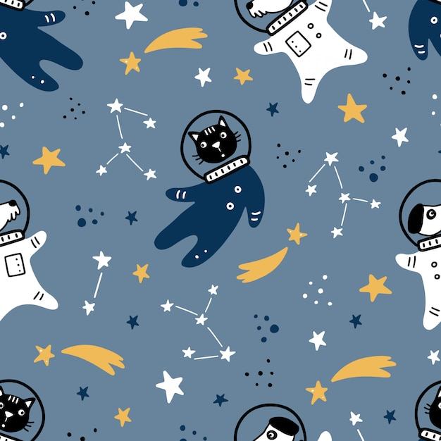 Hand drawn seamless pattern of space with star, comet, rocket, planet, cat, dog  astronaut element. doodle style. Premium Vector
