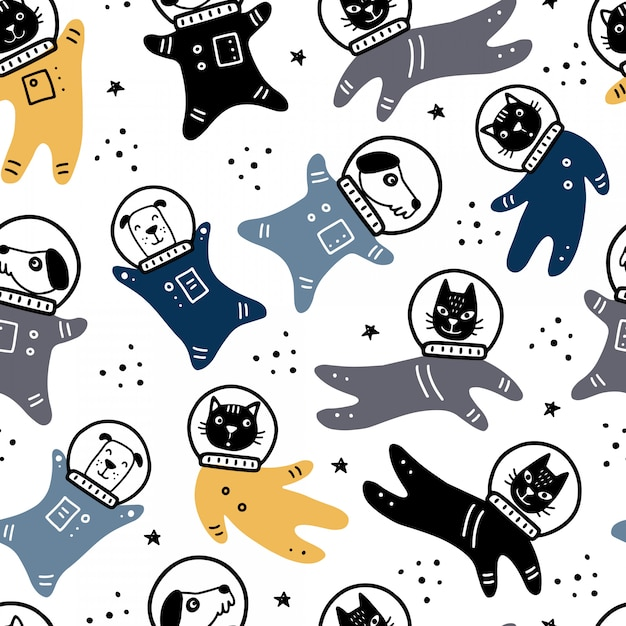 Hand drawn seamless pattern of space with star, comet, rocket, planet, cat, dog astronaut element.. Premium Vector