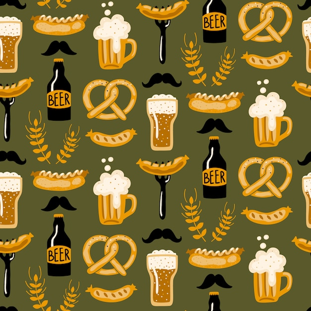 Hand drawn seamless pattern with beer and food. Premium Vector