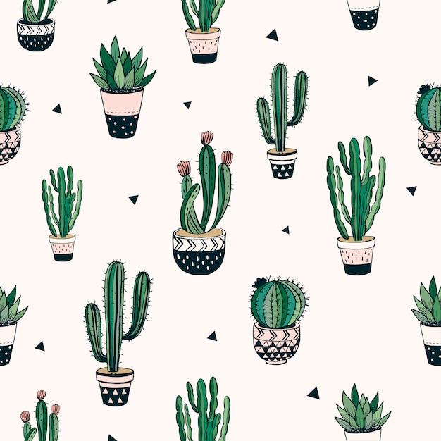 Hand drawn seamless pattern with cacti and succulents, vector design Premium Vector
