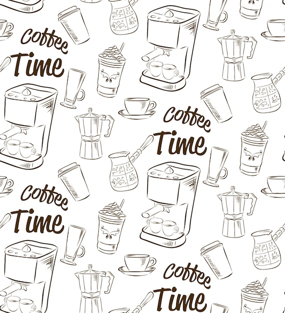 Hand drawn seamless pattern with coffee concept. Premium Vector