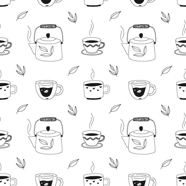 Ручной обращается бесшовные модели с чашками чая, чайником, травами. черно-белые иллюстрации для упаковки, ткани, обоев. Premium векторы
