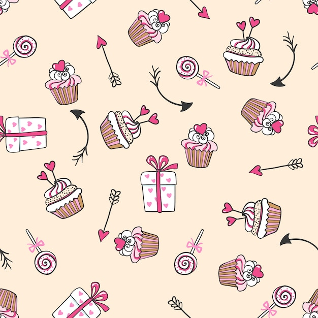Hand drawn seamless pattern with cute cakes, arrows and gifts. Premium Vector