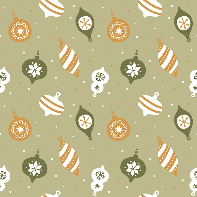 Hand drawn seamless pattern with cute christmas tree decorations. Premium Vector