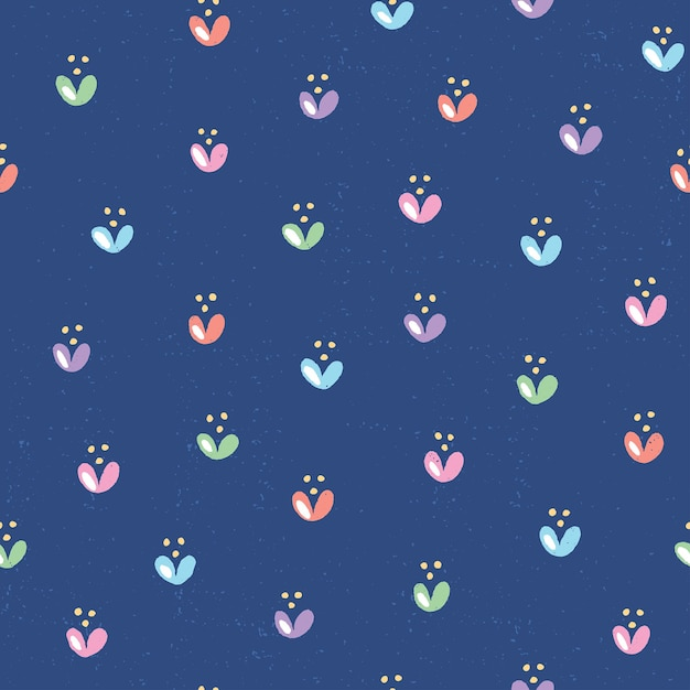 귀여운 꽃과 함께 손으로 그려진 된 완벽 한 패턴입니다. 깊고 푸른 배경에 텍스처와 화려한 꽃 그림 프리미엄 벡터
