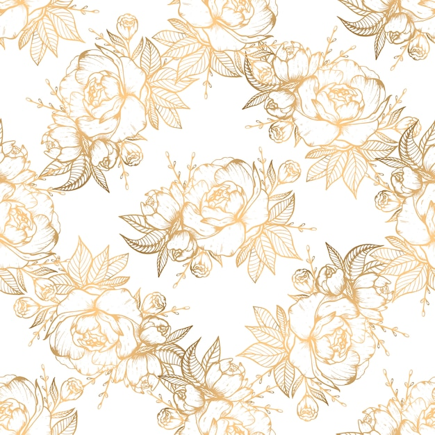 Hand drawn seamless pattern with golden floral elements Premium Vector