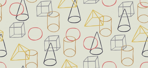 Hand drawn seamless pattern with memphis style and geometric shapes Premium Vector